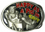 Happy as a Pig in Shit Belt Buckle + display stand. Code AH4